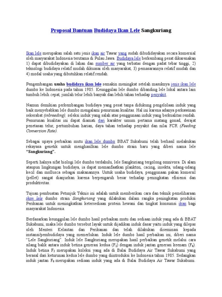 Contoh Proposal Usaha Perikanan Air Tawar Brad Erva Doce Info