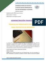 Tecnicas de Presupuesto Para Proyectos de Inversion