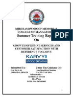 Growth of Demat Services and Customer Satisfaction With Reference to Karvy