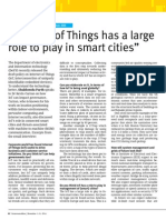 """""""Internet of Things has a large role to play in smart cities"""""""