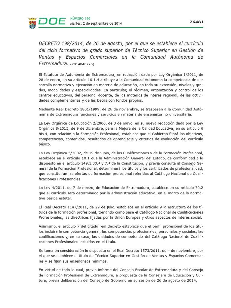 Currículo Del Ciclo Formativo de Grado Superior de Técnico ...