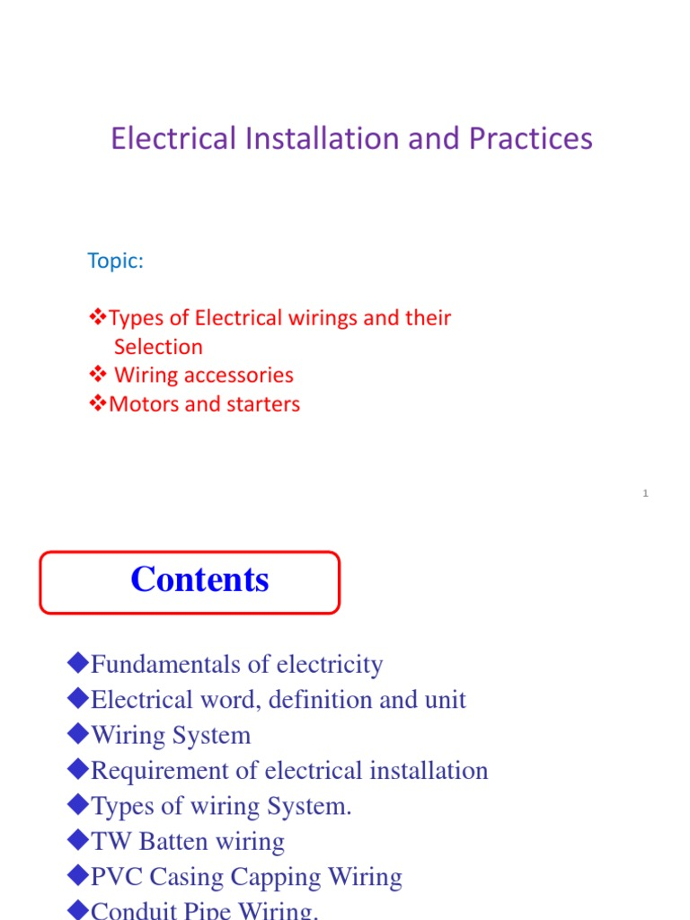 3 Types Of Wirings Ppt Electrical Wiring Electric Motor Pvc Conduit System