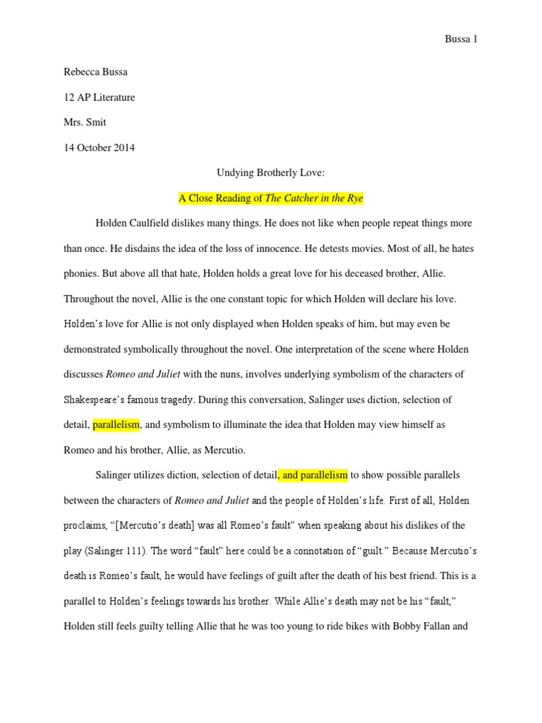 Catcher In The Rye Close Reading Essay Corrections Characters In