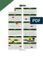 Calendario 2014 Feito Em Excel