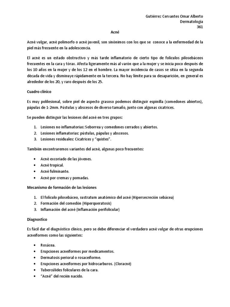 Acne Y Rosacea Resumen Docx
