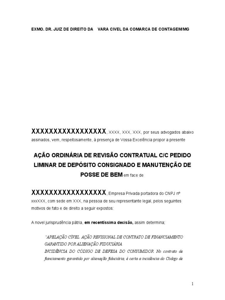 Modelo Petição Ação Revisional De Contrato De Financiamentodoc