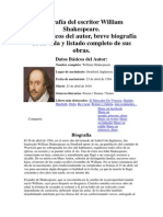 Biografía Del Escritor William Shakespeare