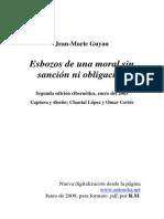 Esbozos de Una Moral Sin Sancion Ni Obligacion (Jean Marie Guyau)