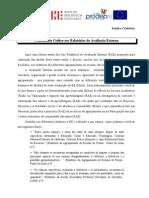 6ª sessão - Comentário crítico aos relatórios da Avaliação Externa
