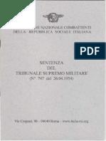 FNCRSI - Sentenza Del Supremo Tribunale Militare (n 747 Del 1954)