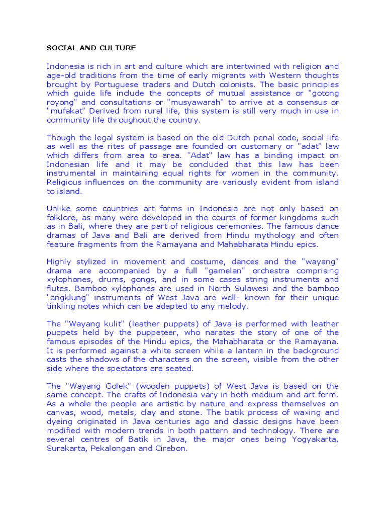 Social And Culture Docx Performing Arts Arts General