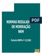 NRM NORMAS REGULADORAS MINERACAO