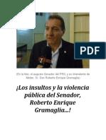 ¡Los insultos y la violencia pública del Senador, Roberto Enrique Gramaglia...!