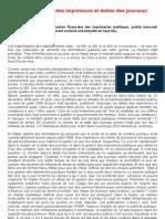 Situation financière des imprimeurs et dettes des journaux