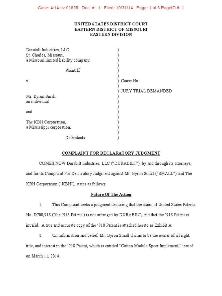 Durabilt Industries v  Small - Complaint | Declaratory Judgment