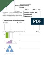 prueba de UNIDAD VI  fracciones 3°