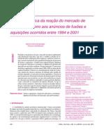 Artigo Acadêmico - Fusões e Aquisições - Análise Empírica - Por Marcos Antônio de Camargos