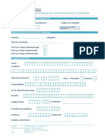 Formulario de Candidatura Ao Procedimento Concursal
