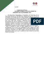 Informe Sísmico 1 noviembre 2014