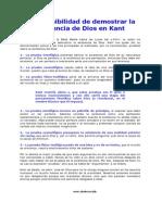 La Imposibiliad de Demostrar La Existencia de Dios en Kant (Texto)
