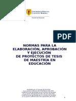 Normas Elab Present Ejec Proyectos de Tesis de Maestra en Educacin SEP 2010