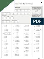 BMAT Specimen Section 1 Response Sheet