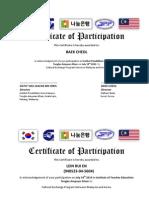 KOREA Certificate of Participation