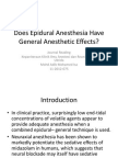 Does Epidural Anesthesia Have General Anesthetic Effects