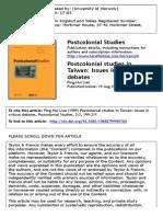 Postcolonial Studies in Taiwan