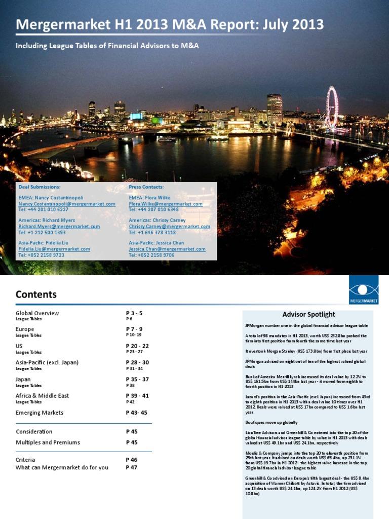 Mergermarket H12013 FinancialAdvisorM&ATrendReport | Investment