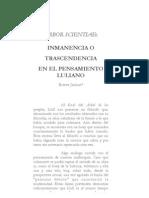 ARBOR SCIENTIAE -   INMANENCIA O  TRASCENDENCIA  EN EL PENSAMIENTO LULIANO