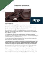 Dark Chocolate May Reduce Blood Pressure