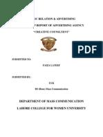 Advertising Internship Report of Creative Consultent