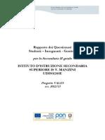 UDIS01200E Secondaria Rapporto Risultati Questionari Studenti Insegnanti Genitori VALES