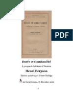 Bergson Duree Et Simultaneite