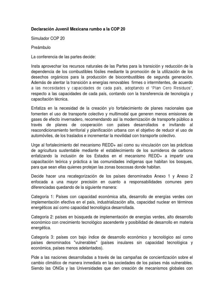 Declaración Juvenil Mexicana Rumbo a La COP 20