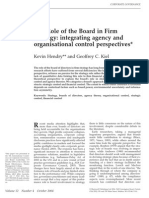 Hendry K the Role of the Board in Firm Strategy Integrating Agency and Organisational Control Perspectives