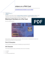 Meaning of Numbers on a PAN Card