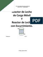 Reactor de Lecho  de Carga Móvil Y Reactor de Lecho con Escurrimiento.