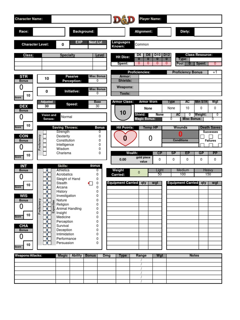 It is a graphic of Critical Dnd 5e Printable Character Sheet