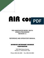 Air Corp 500 Ph Manual