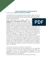 Preparación de Listas de Verificación o Cuestionarios de Auditoria