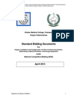 Standard Bidding Documents (SBDs) for Procurement of Video Conferencing & Allied IT Equipment for KMC Peshawar Equipment (17.04.2013)