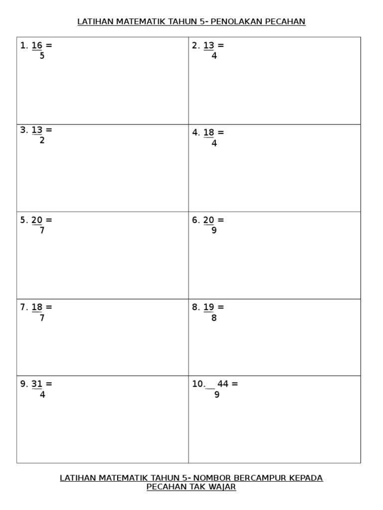 Latihan Matematik Tahun 5 Penolakan Pecahan
