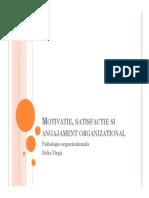 Motivatie, Satisfactie Si Angajament Organizational