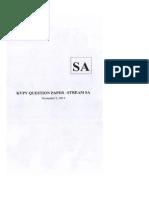 KVPY 2014 Question Paper SA v2