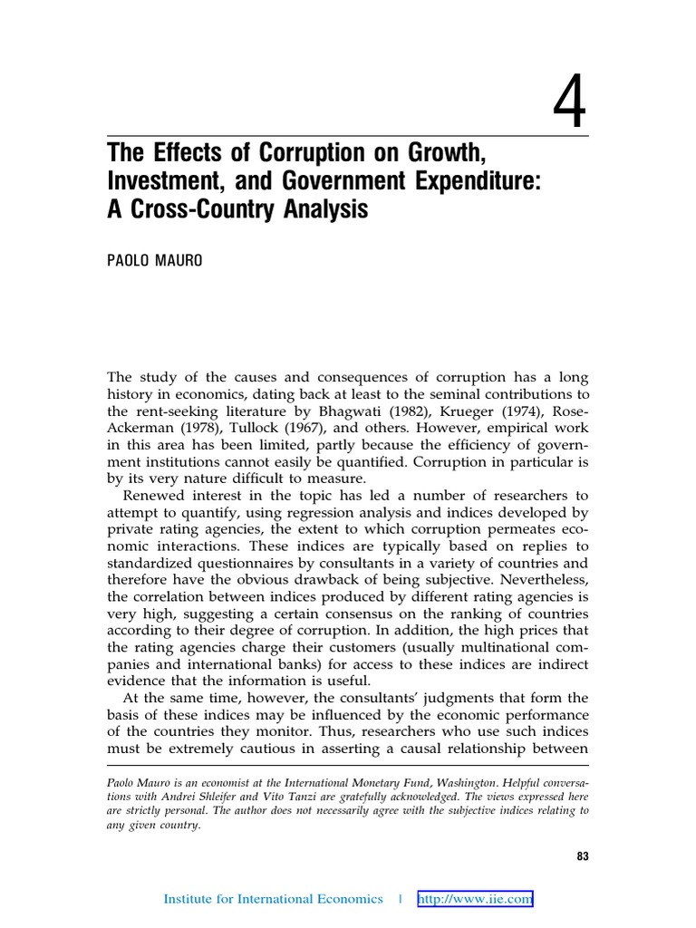 The effects of corruption on growth investment and government expenditure a cross country analysis gross domestic product ordinary least squares