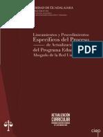 Lineamientos y Procedimientos del Proceso de Actualización Curricular de la Carrera de Abogado