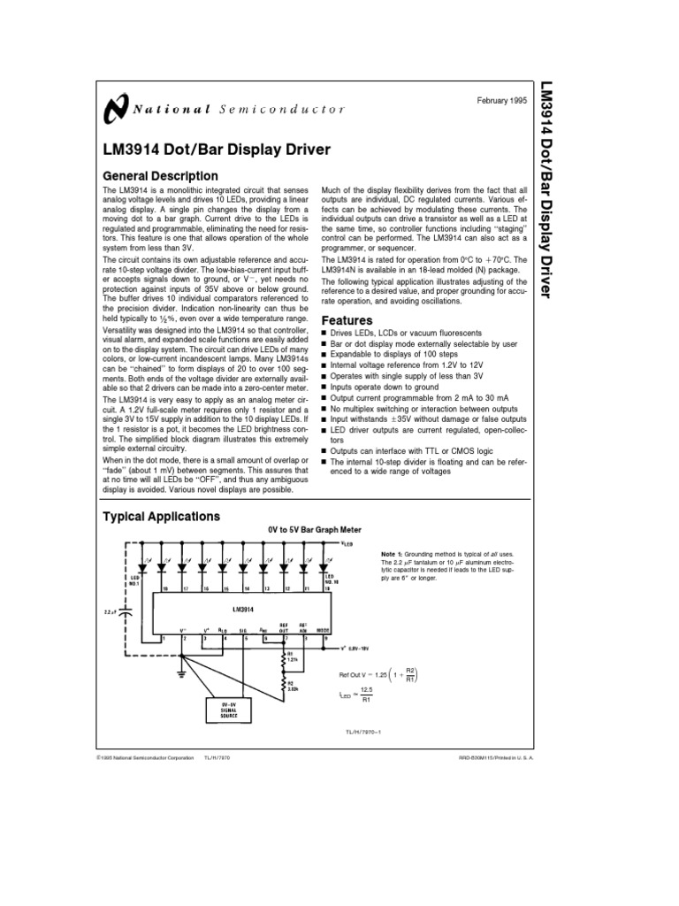 Lm3914pdf Light Emitting Diode Resistor Circuit Led Bar Ic Lm3914 Picture Of Good Electronic