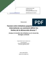 Mémoire de Master Tension Entre Initiative Popoulaire Et Droit Internatinal